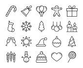 20 Christmas icons. Xmas line icon set. Vector illustration. Editable stroke.