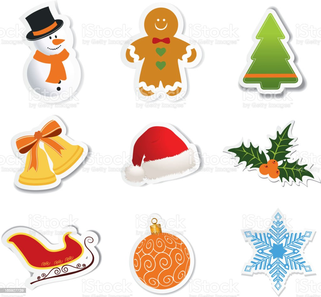 Christmas icons-stickers vector art illustration