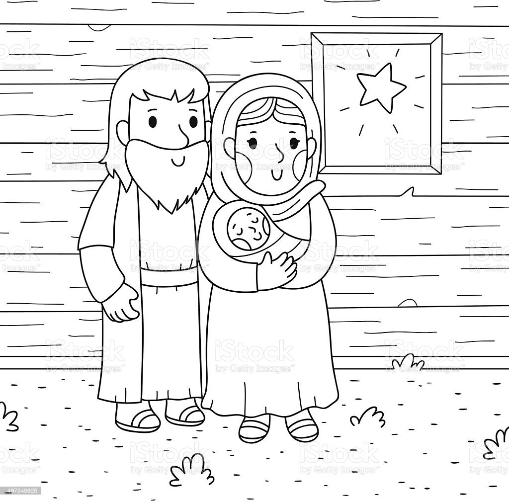 Christmas Illustration Baby Jesus Mary Joseph - Arte vectorial de ...