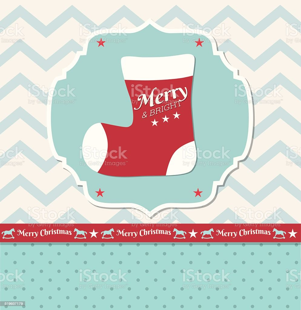 Christmas illustration - christmas stocking in shabby chic style,...