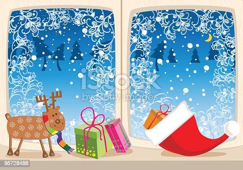 istock Christmas Illustration of Whimsical Deer, Presents, Santa Cap on Windowsill 95728488