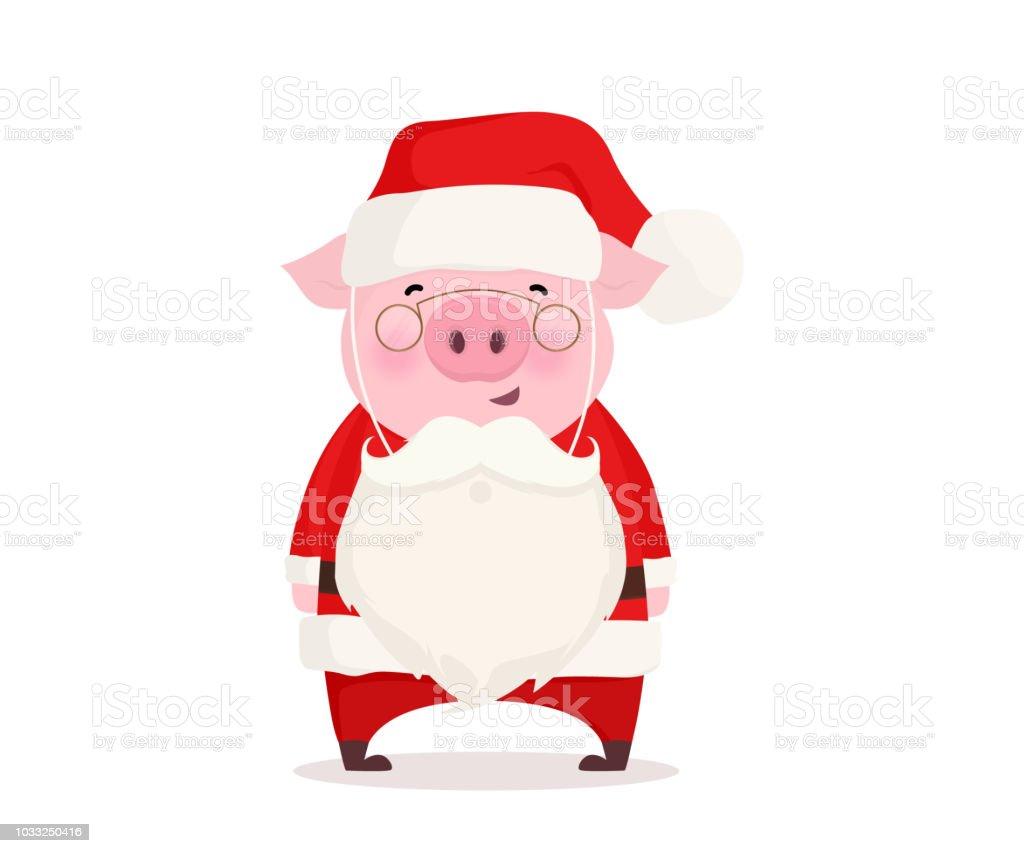 Jul illustration. Gris klädd i Santa Claus kostym. Flat vektor design.  royaltyfri jul c7307ad68c0f4