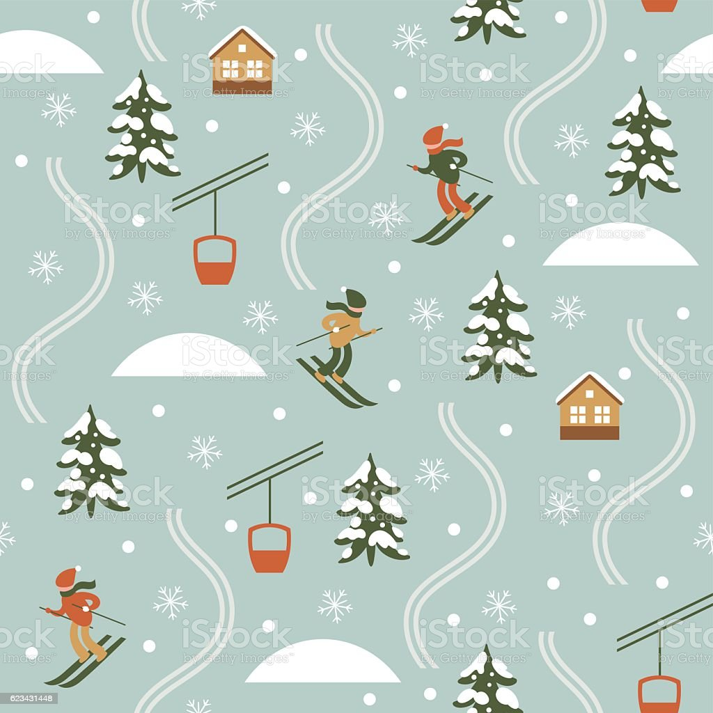 Christmas illustration, Ski Resort, Seamless pattern vector art illustration