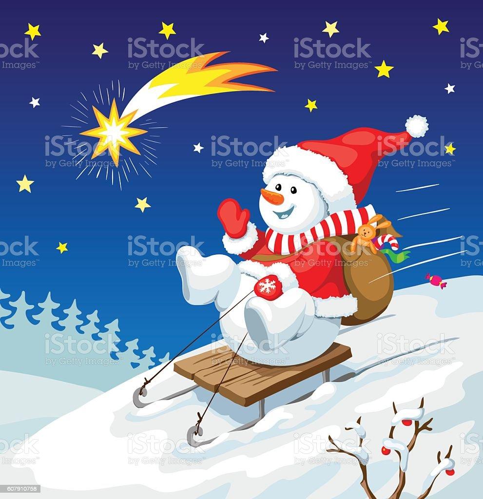 Weihnachten Illustration Schneemann Auf Schlitten Mit ...