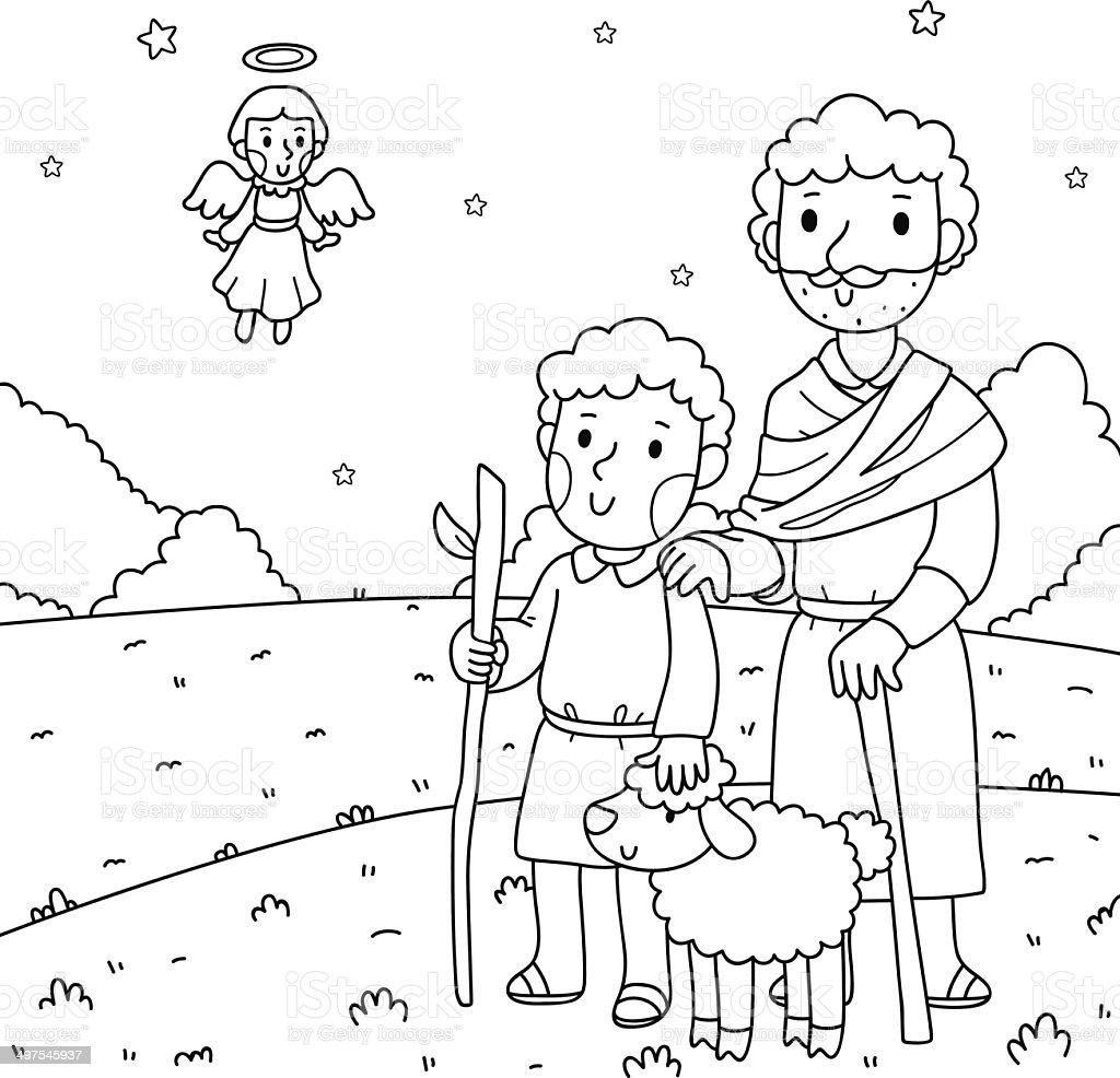Hirten Bilder Weihnachten.Weihnachten Illustration Der Angel Und Die Hirten Stock Vektor Art