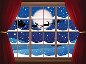Christmas illustration, look from the window. Vector