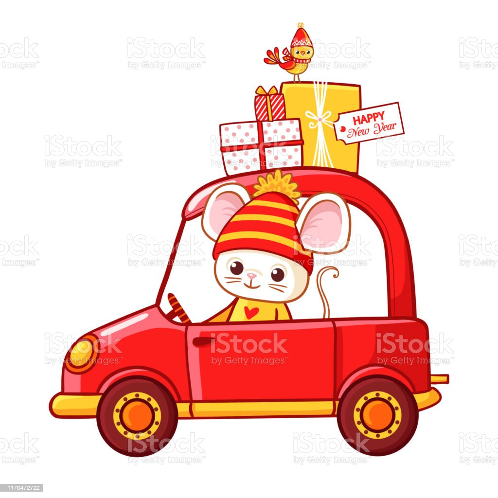 Christmas illustration with a mouse in a car that carries Christmas...