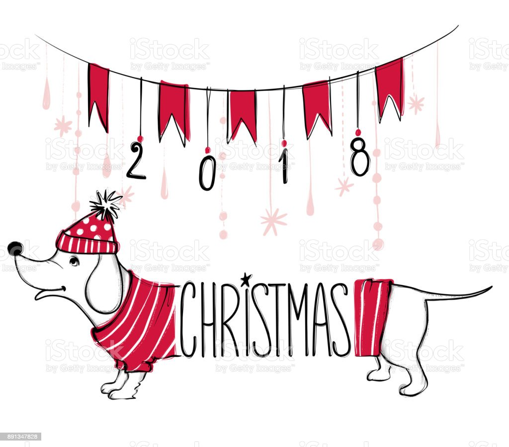 Christmas Illustration With Funny Dog. Hand Drawn Vector Puppy With Red  Sweater And Hat.