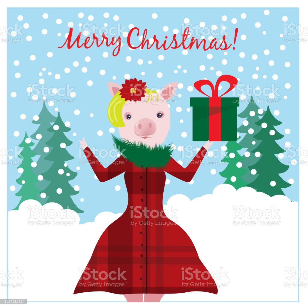 Christmas illustration with funny pig and Christmas gift. EPS 10.