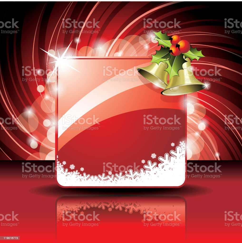 Christmas illustration with holly and bells on red background. royalty-free stock vector art