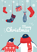 Christmas illustration with penguin and xmas decor