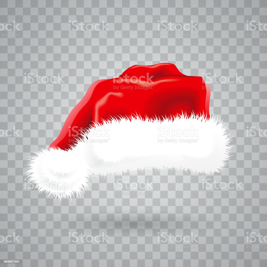 Christmas illustration with red santa hat on transparent background. Isolated vector object. vector art illustration