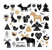 Christmas illustrations, banner design hand drawn elements and icons in Scandinavian style