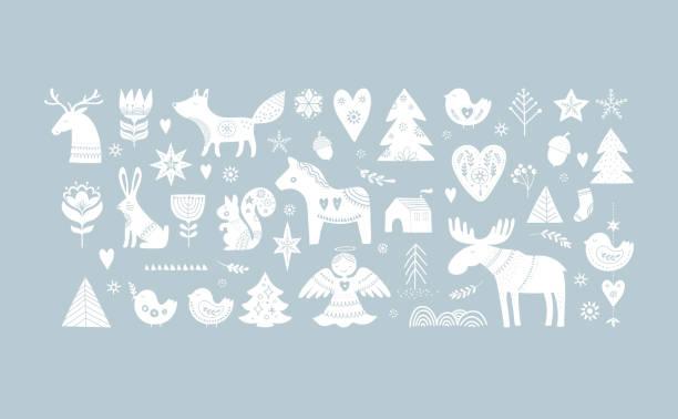 bildbanksillustrationer, clip art samt tecknat material och ikoner med christmas illustrationer, banner design handen ritade element i skandinavisk stil - älg sverige