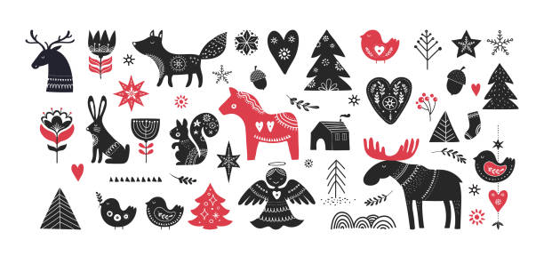 illustrations, cliparts, dessins animés et icônes de illustrations de noël, conception de la bannière à la main les éléments dessinés dans un style scandinave - suede