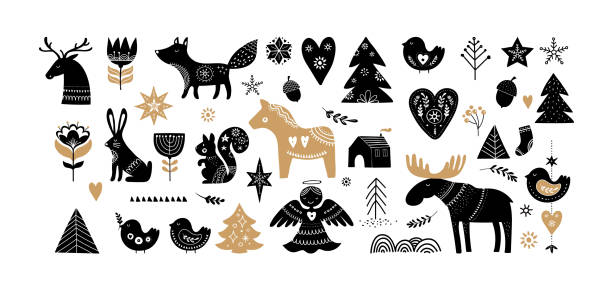 christmas illustrations, banner design hand drawn elements in scandinavian style - backgrounds symbols stock illustrations