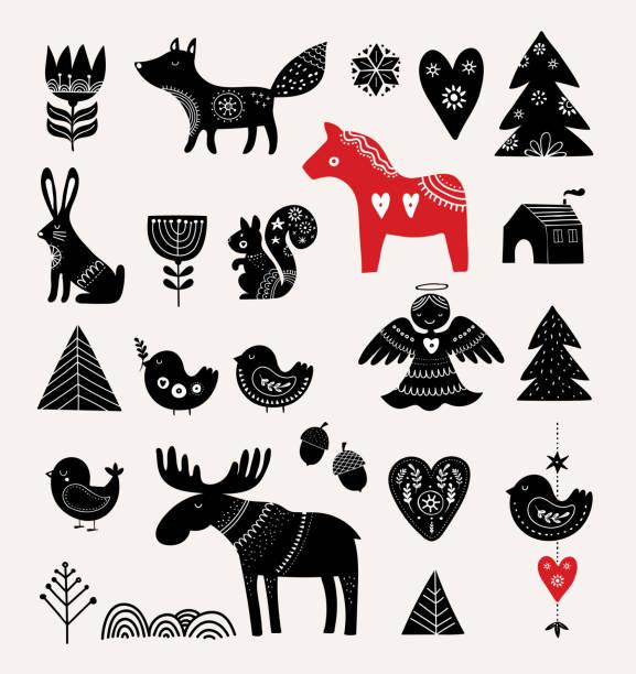bildbanksillustrationer, clip art samt tecknat material och ikoner med christmas illustrationer, handen ritade element, skandinavisk stil - älg sverige