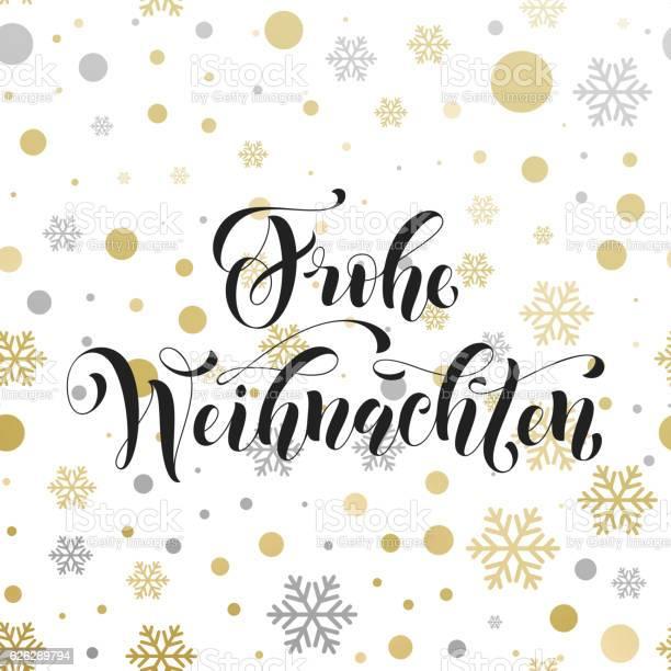 Christmas In Germany Frohe Weihnachten Decorative Vector Greeting — стоковая векторная графика и другие изображения на тему Ёлочные игрушки