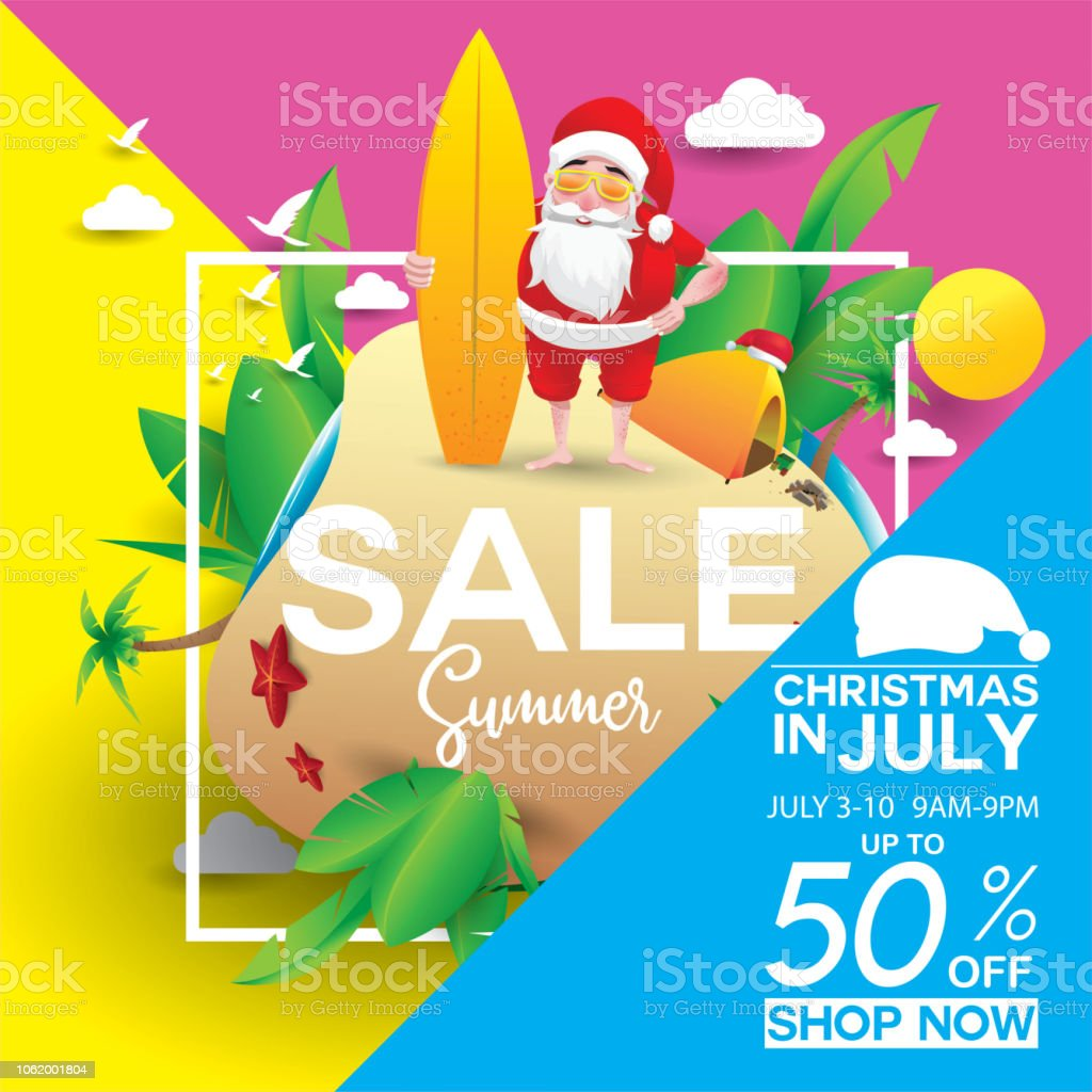 Christmas In July Royalty Free Images.Christmas In July Design With 3d Concept Stock Illustration