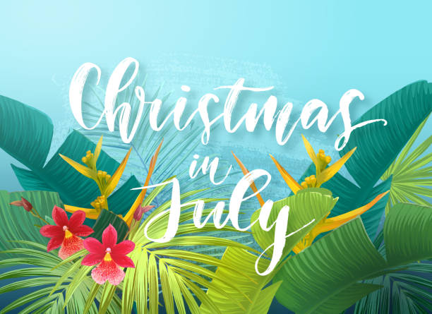 Christmas in July sale design with tropical royal palm leaves, exotic flowers and handlettering. Summer vector illustration Christmas in July sale design with tropical royal palm leaves, exotic flowers and handlettering. Summer vector illustration. australian christmas stock illustrations