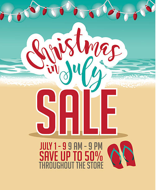 Christmas In July Sale Marketing Template Vector Art Illustration