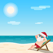 Christmas in July theme, Santa Claus wearing sunglasses sits sunbathing on a beach chair at the seaside with sea sun and sky as background, Vector illustration