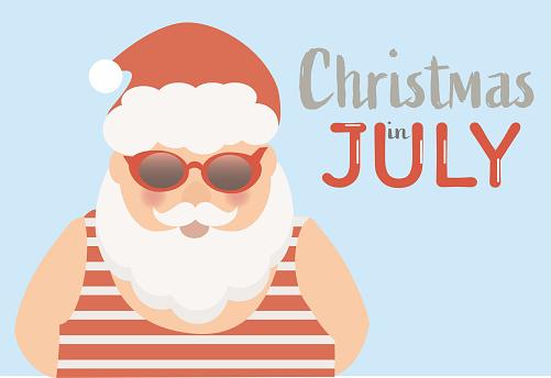 Christmas in July vector. Santa Claus enjoying summer.