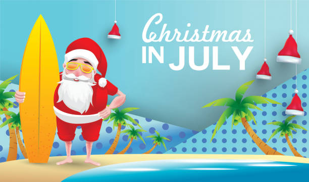 Christmas In July Santa Clipart.Best Christmas In July Illustrations Royalty Free Vector