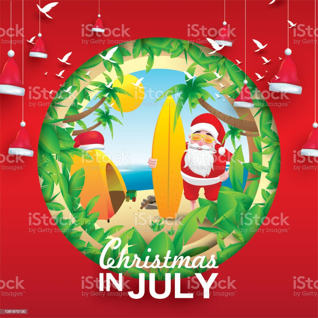 Christmas In August Poster.Christmas In June July August For Poster Marketing Advertising Summer Sale Greeting Card Santa In Summer With Copy Space For Text Stock Illustration