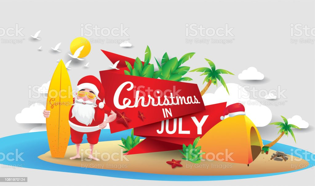 Christmas In August Clipart.Christmas In June July August For Poster Marketing