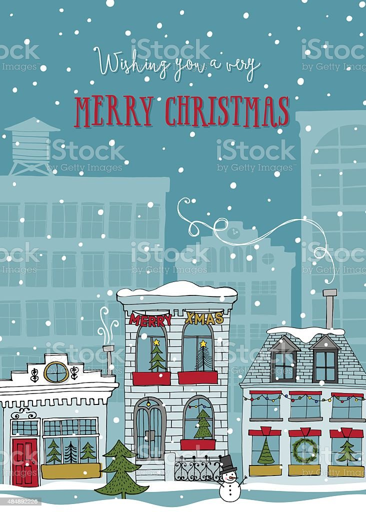 Christmas in NYC - Holiday Card with Hand Drawn Buildings vector art illustration