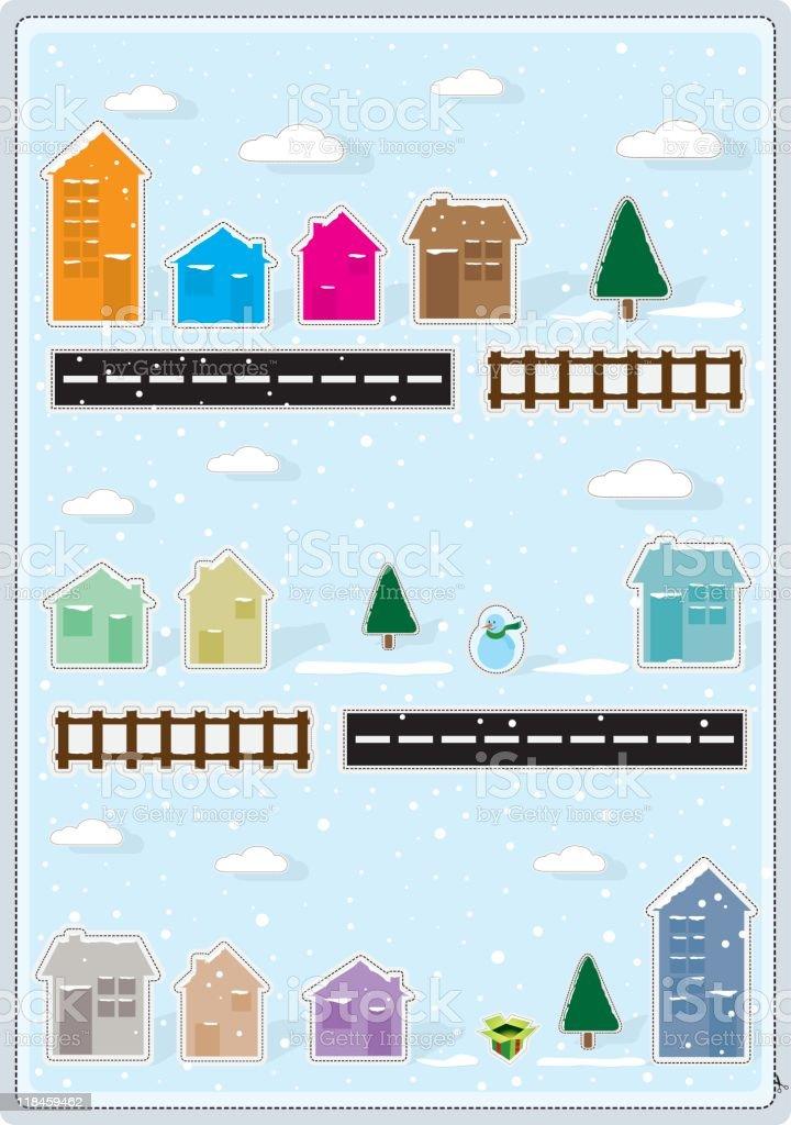 Christmas in paper town vector art illustration