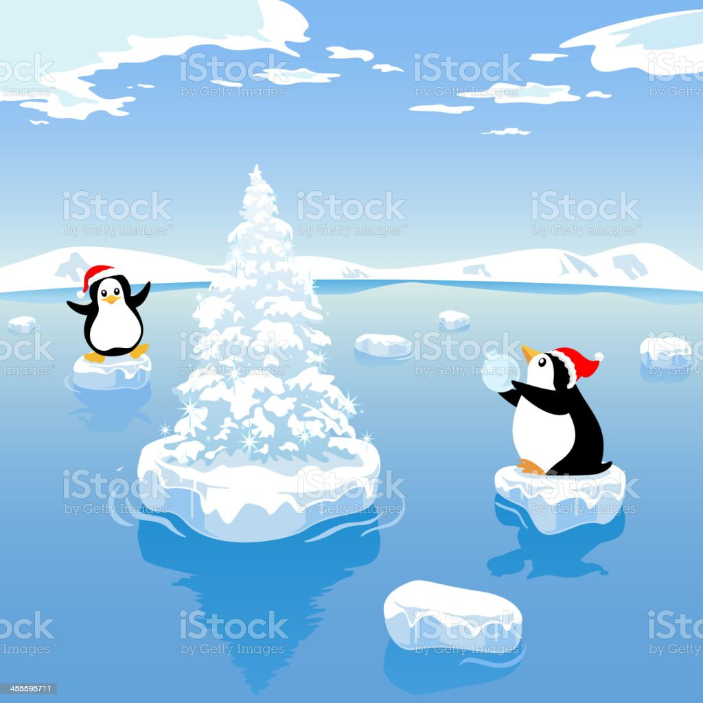 Christmas in the Arctic vector art illustration