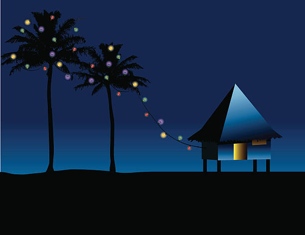 Christmas in the Islands - ZOOM to see lights! vector art illustration
