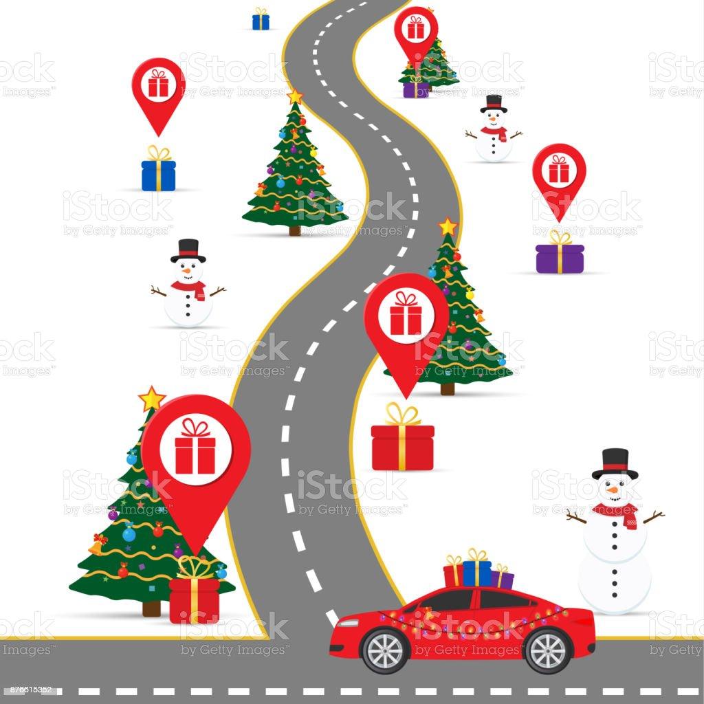 Weihnachteninfografikenvorlage Mit Einer Straße Und
