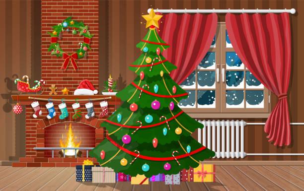 ilustrações de stock, clip art, desenhos animados e ícones de christmas interior of room - braseiro