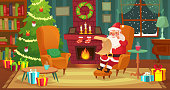 Christmas interior. Santa Claus winter holiday decorated living room with fireplace, candle and xmas tree. House room scene or traditional new year foie decoration cartoon vector illustration