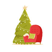 Christmas interior with armchair, Christmas tree. Cozy winter evening. Minimalistic flat style. For card or web banner