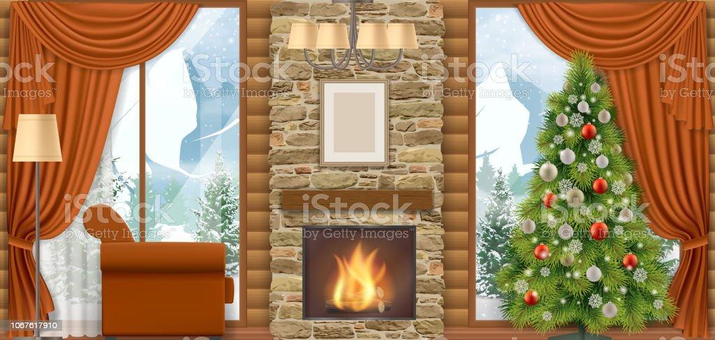 Kerst interieur met uitzicht op de bergen. - Royalty-free Achtergrond - Thema vectorkunst