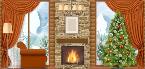 stockillustraties, clipart, cartoons en iconen met kerst interieur met uitzicht op de bergen. - christmas cabin