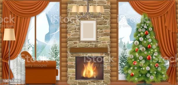 Kerst Interieur Met Uitzicht Op De Bergen Stockvectorkunst en meer beelden van Achtergrond - Thema
