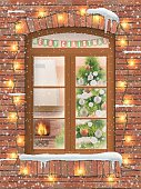 Christmas interiot through window