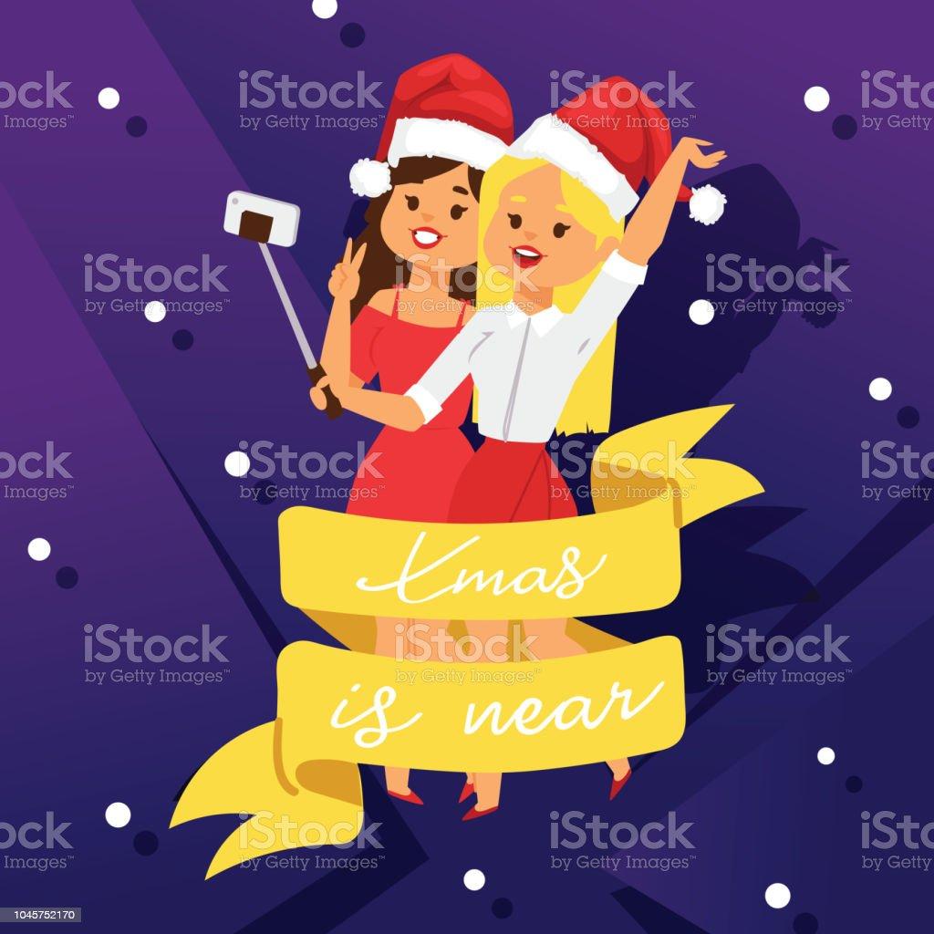 Weihnachten 2019 Musik.Weihnachten Einladung Party Vektor Poster Karte Zwei Junge