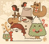 Vector file of the group of hand drawn xmas characters