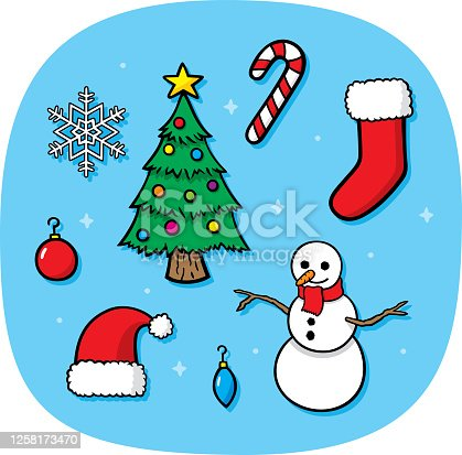 istock Christmas Items Doodle 1258173470