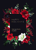Christmas joy black floral vector frame. Red amaryllis, poinsettia,green fir branch, holly, mistletoe, burgundy ranunculus, berry, winter greenery. Merry Christmas template card. Isolated and editable
