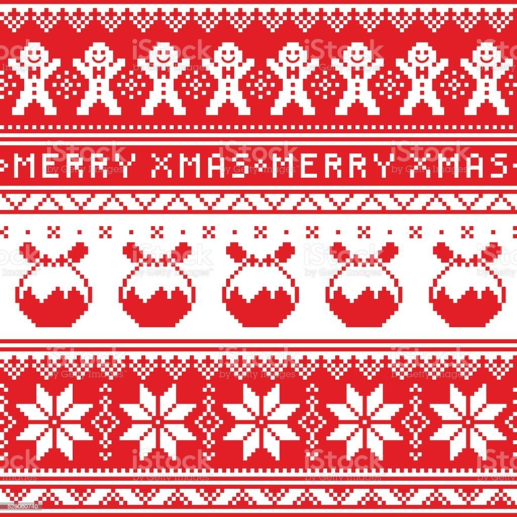 Christmas jumper or sweater seamless pattern with Christmas pudding vector art illustration