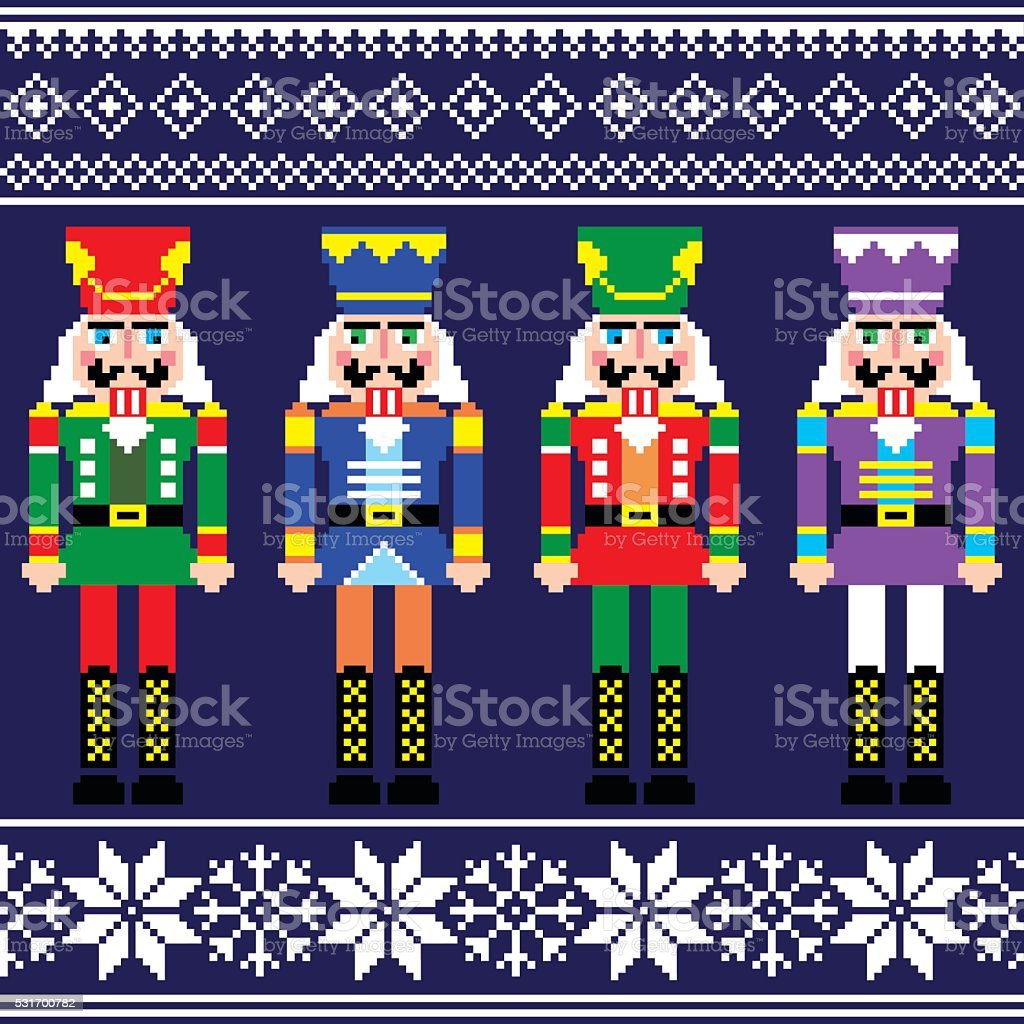 Christmas jumper or sweater seamless pattern with nutcrackers vector art illustration