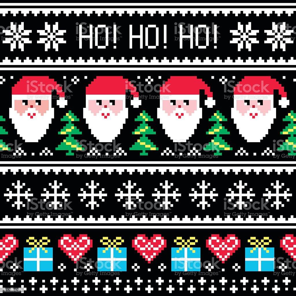 Weihnachts-Pullover oder Strickjacke nahtlose Musterung mit Santa und Geschenke – Vektorgrafik