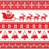 Christmas jumper or sweater seamless red pattern with Santa